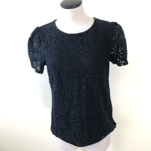 Express black floral lace short sleeve blouse